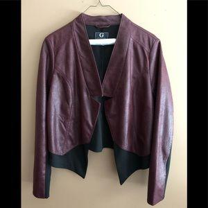 Burgundy and black open blazer
